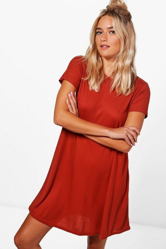 Ellie Rib Knit Short Sleeve Swing Dress