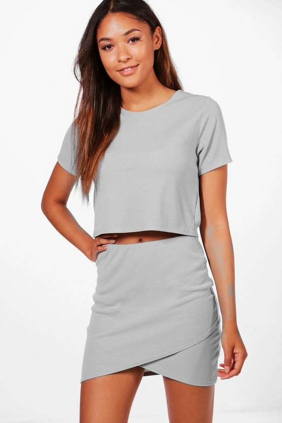 Jasmine Cropped T-Shirt and Skirt Knitted Lounge Set