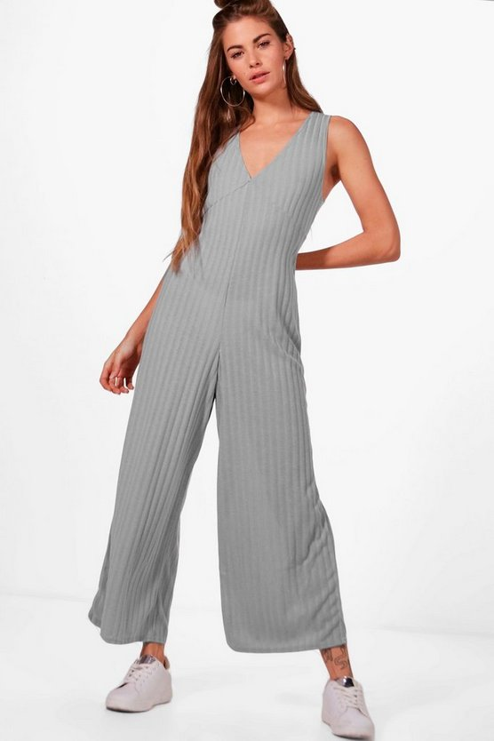 High Waist Rib Knit Jumpsuit