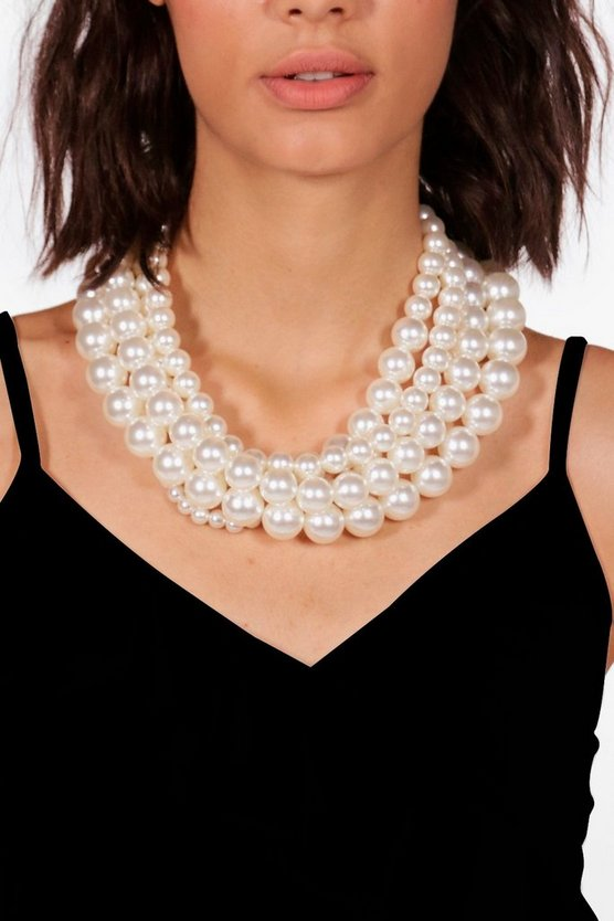 Mila Statement Layered Pearl Necklace