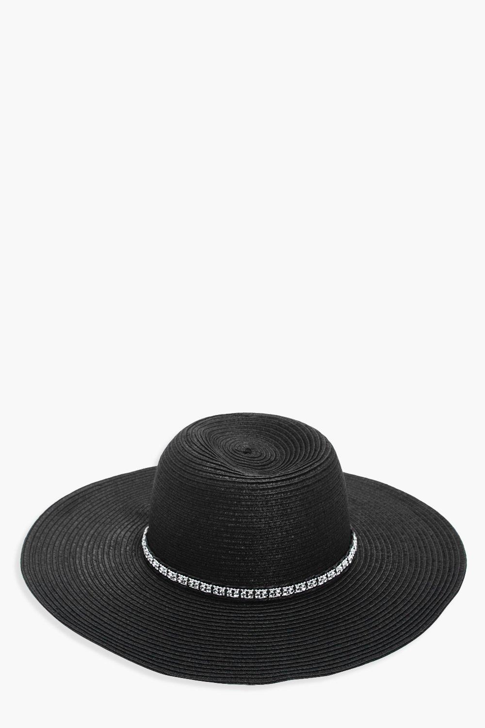 Diamante Trim Floppy Hat - black - Melissa Diamant