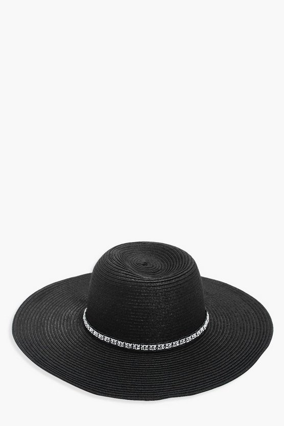 Melissa Diamante Trim Floppy Hat
