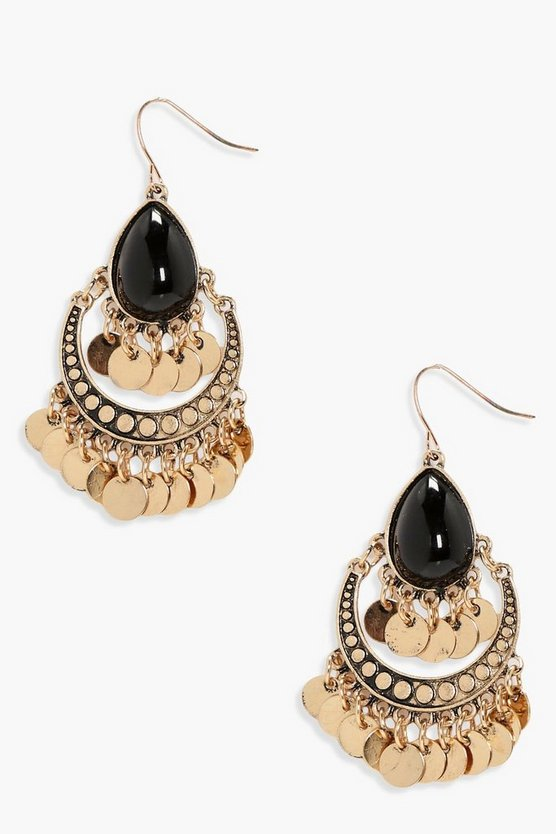 Katie Stone And Coin Detail Statement Earrings