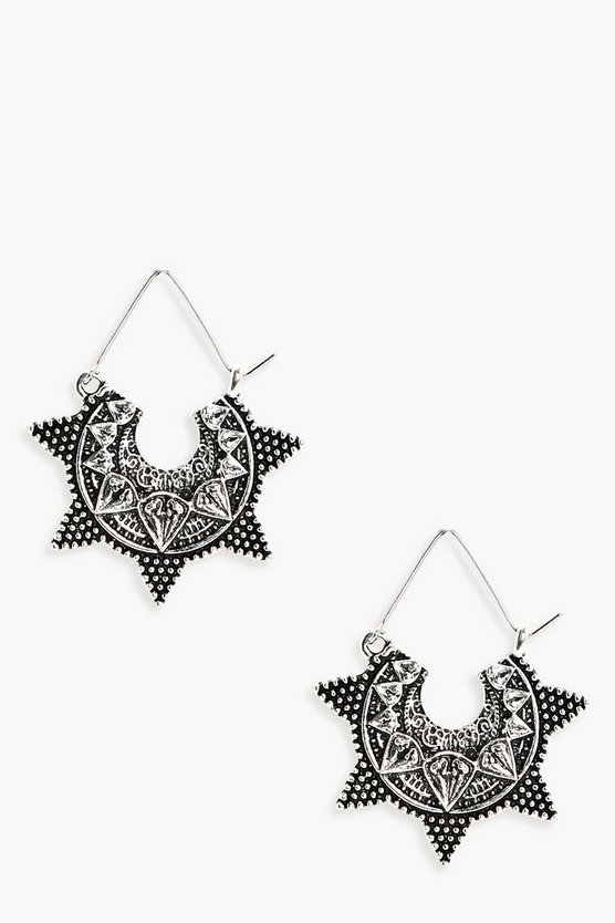Ruby Eastern Boho Engraved Earrings