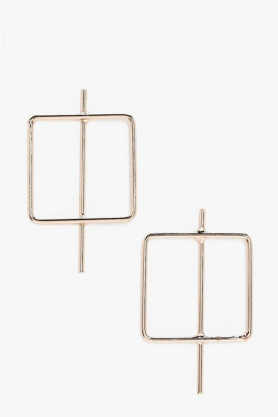 Elle Square Hoop Bar Earrings