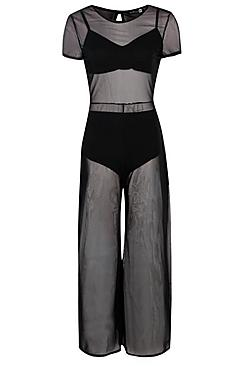 3 Piece Mesh Jumpsuit Bralet and Short Co-ord thumbnail