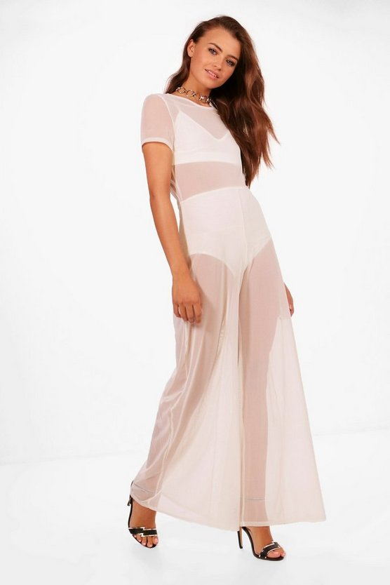 3 Piece Mesh Jumpsuit Bralet and Short Co-ord