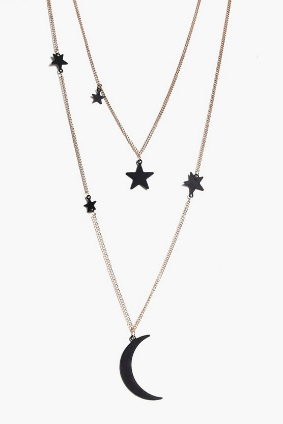 Lucy Layered Moon And Star Necklace