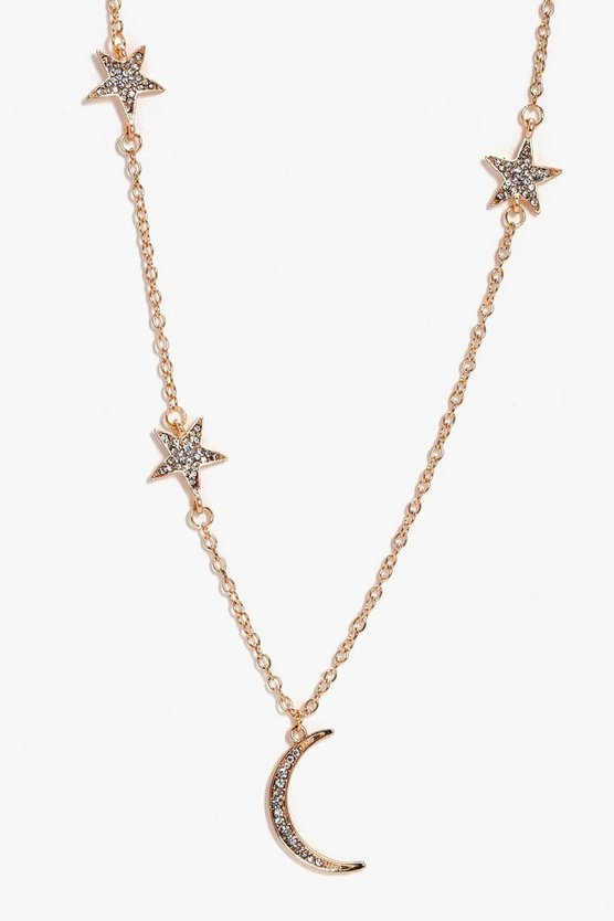Star And Moon Skinny Necklace