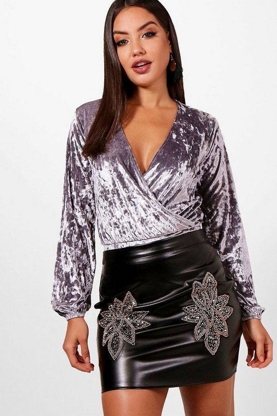Meggan Velvet Draped Ruched Sleeve Body