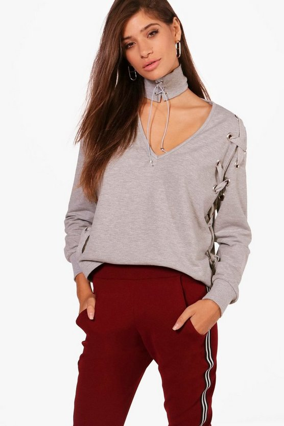 Olivia Choker Eyelet Lace Up Sweatshirt