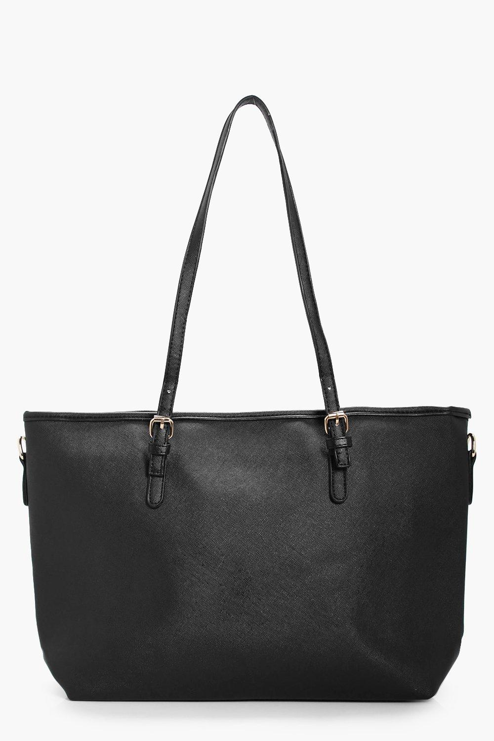 Buckle Detail Shopper Tote - black - Millie Buckle