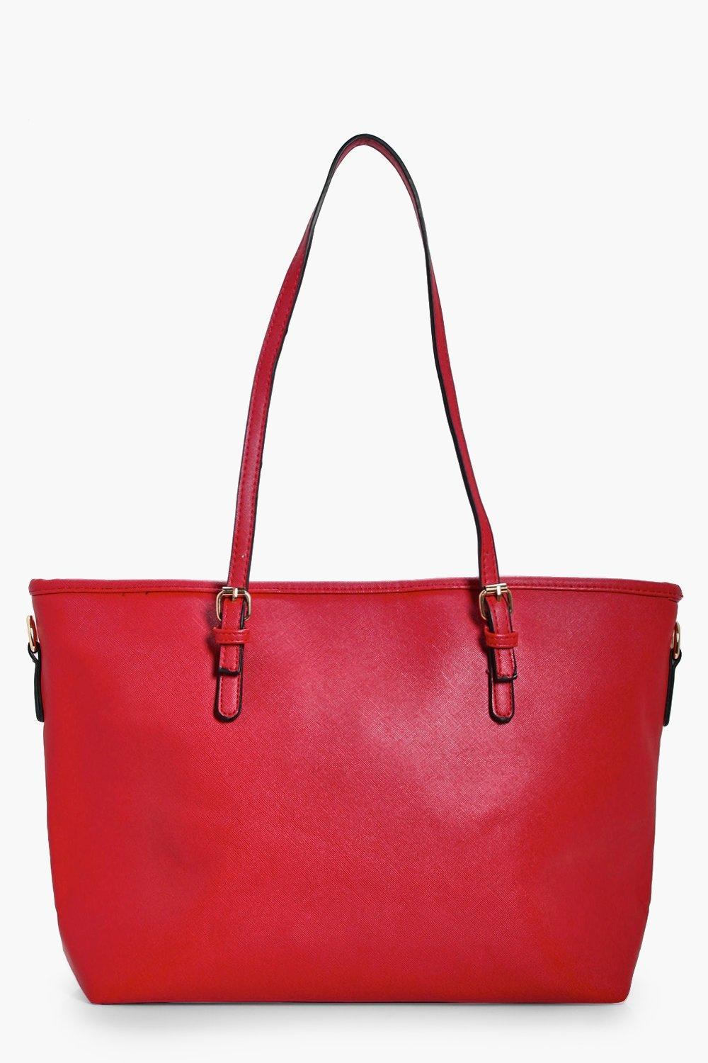 Buckle Detail Shopper Tote - red - Millie Buckle D