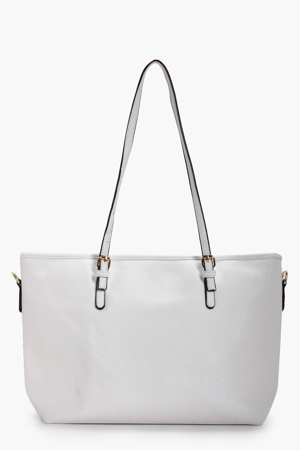 Buckle Detail Shopper Tote - white - Millie Buckle