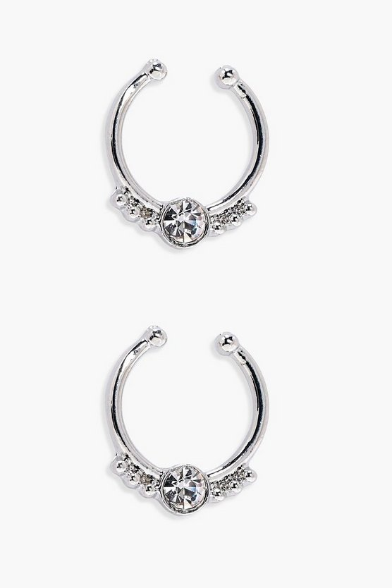 Rose Diamante Septum Ring- 2Pack