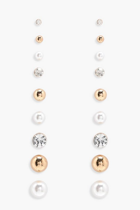 Pearl and Diamante Mixed Stud- 9pack
