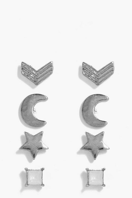 Amy Star and Moon Mixed Studs 4 Pack Earrings