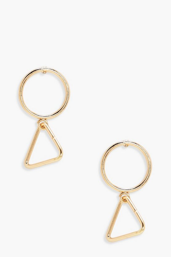 Nicole Geometric Circle and Triangle Earrings