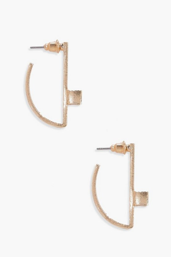 Isabel Half Circle Cube Detail Earrings