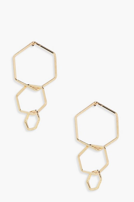 Maddison Layered Hexagon Earrings