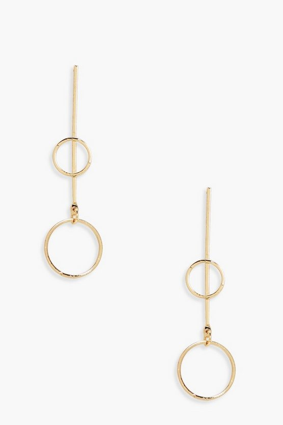 Anna Double Hoop Bar Drop Earrings