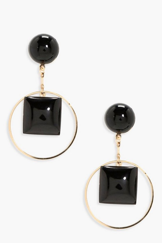 Bella Pom Stud Circle Earrings