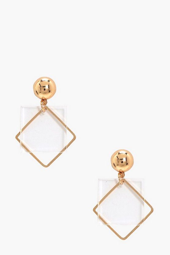 Skye Clear Plastic Square Detail Earrings
