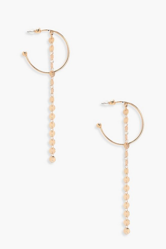 Yasmin Circle Chain Drop Hoop Earrings