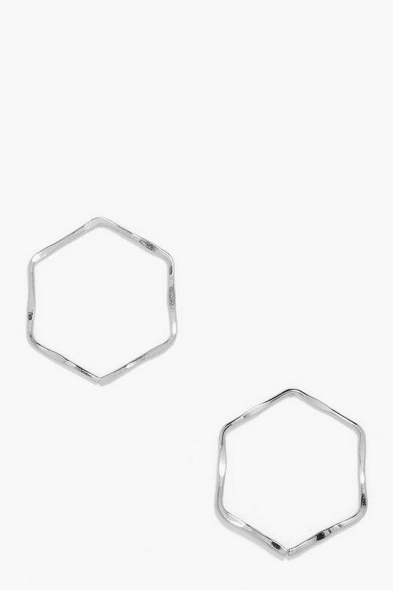Sarah Hammered Hexagon Hoop Earrings