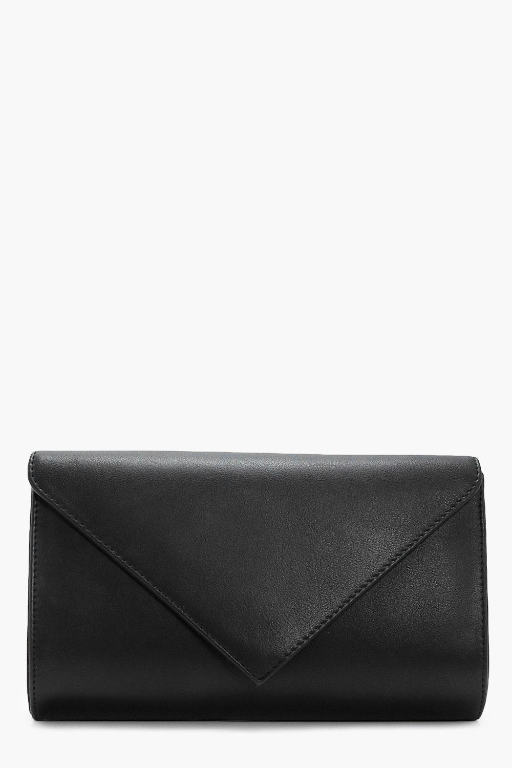 Envelope Clutch With Chain - black - Ellie Envelop