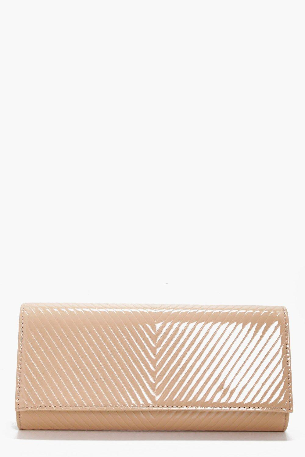 Patent Quilted Clutch - cream - Amy Patent Quilted