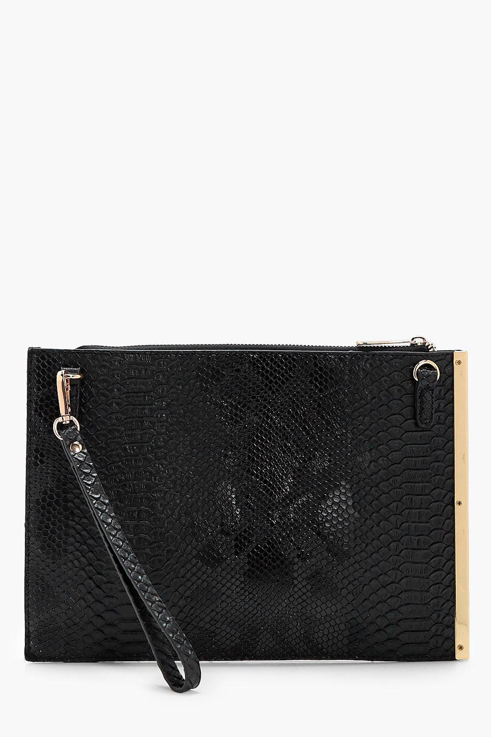 Bar Detail Snake Clutch - black - Imogen Bar Detai