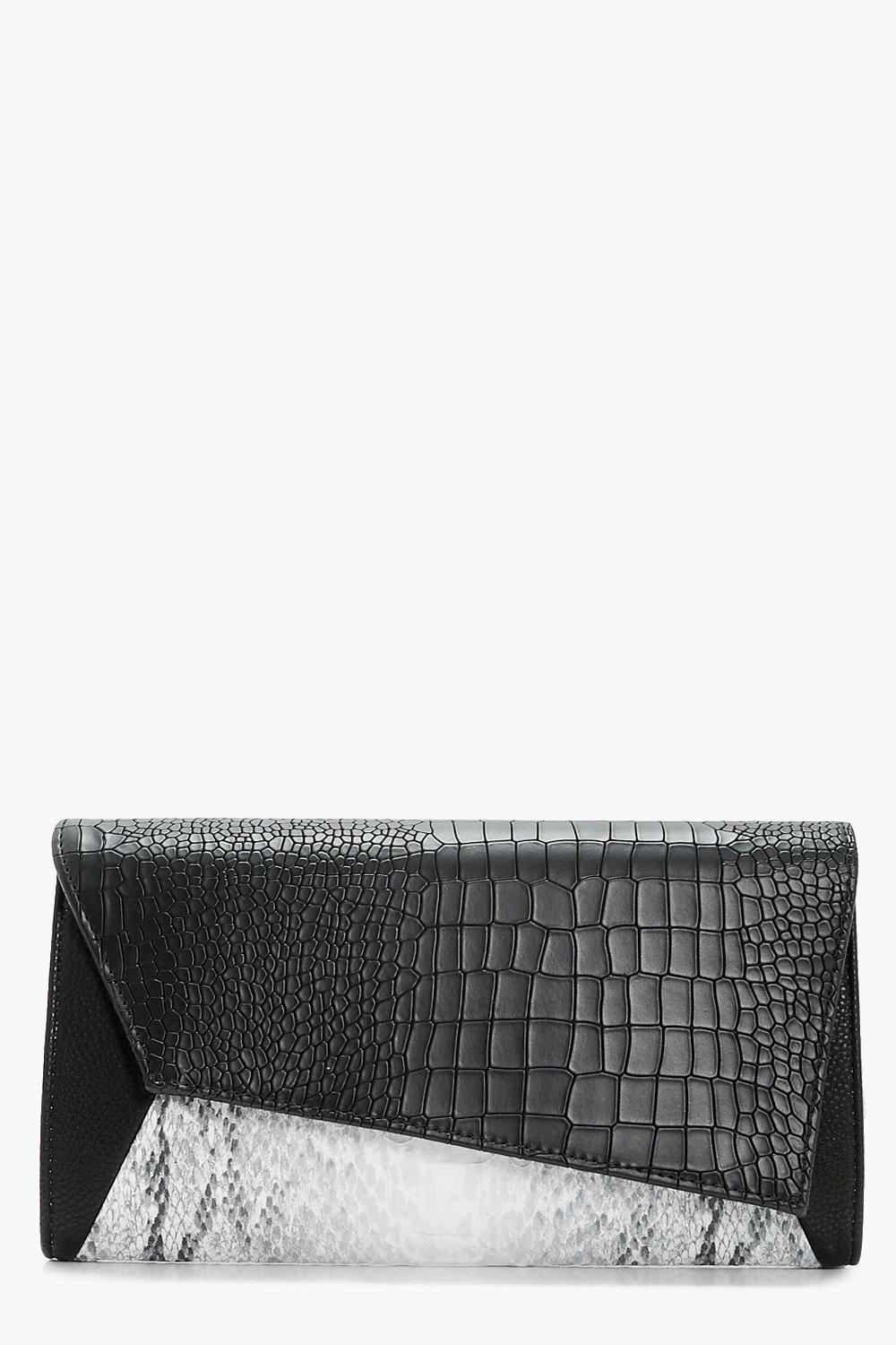 Snake Panel Clutch - black - Megan Snake Panel Clu