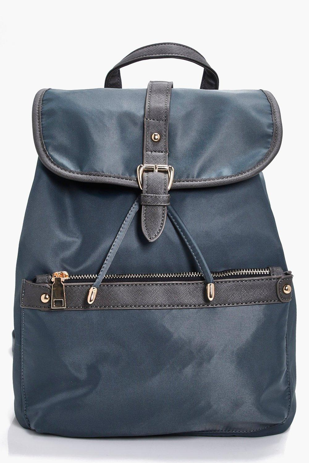 Nylon Pocket Rucksack - grey - Millie Nylon Pocket