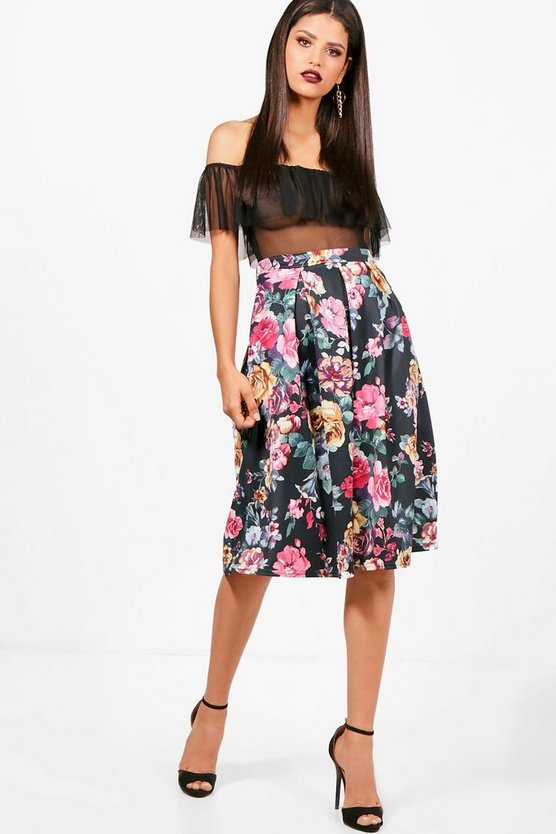 Floral Box Pleat Midi Skirt