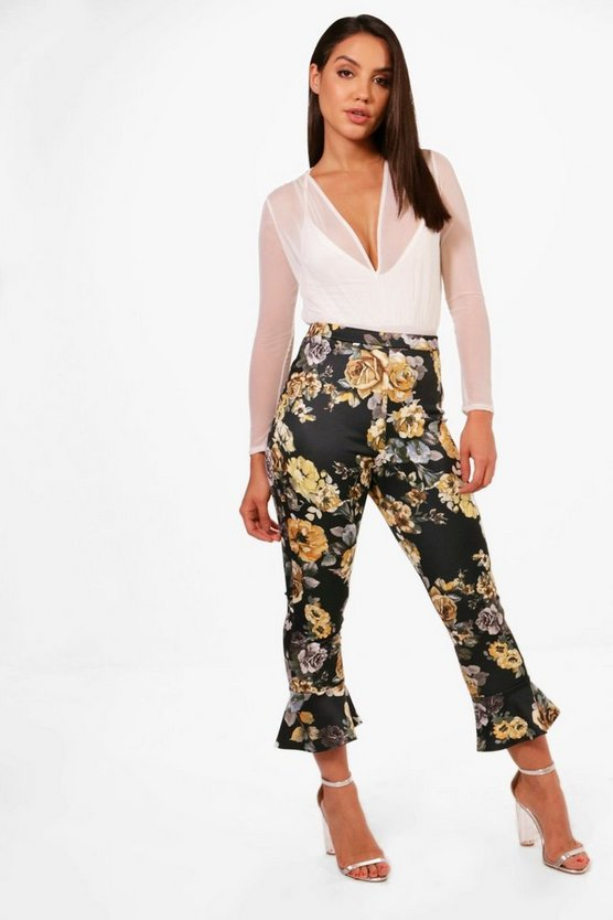 Molly Tonal Floral Ruffle Skinny Trousers