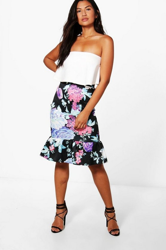 Josie Bright Floral Drop Hem Midi Skirt