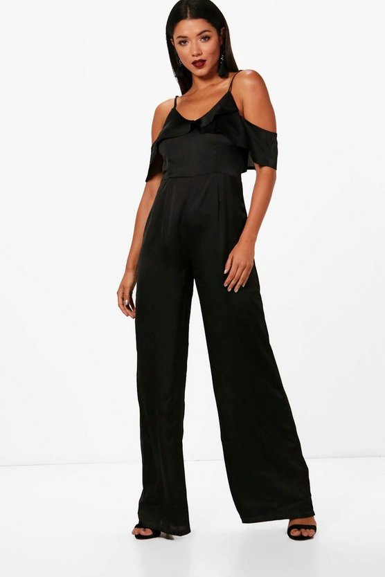 Boutique Amelia Ruffle Detail Satin Jumpsuit
