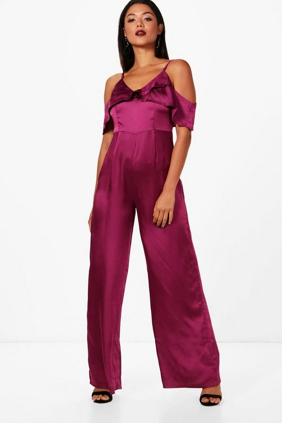 Boutique Amelia Jumpsuit mit Volant in Satin-Optik