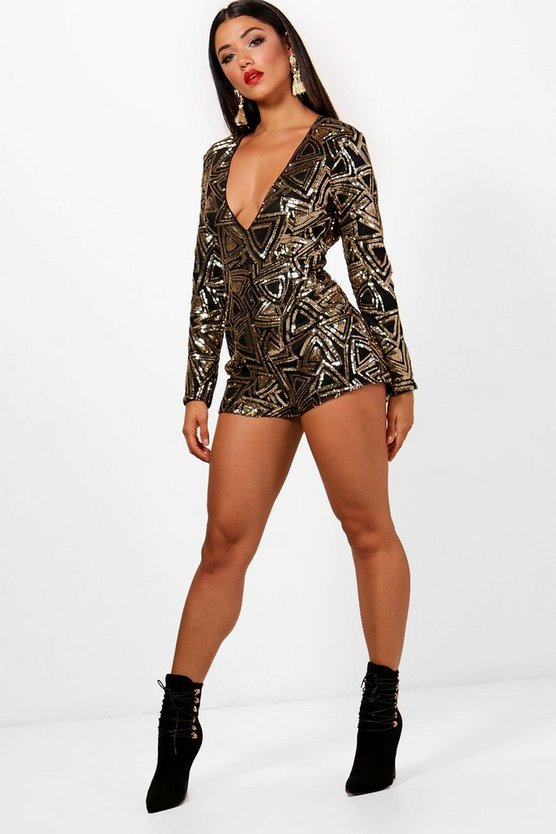 Melissa Plunge Front Geometric Sequin Playsuit