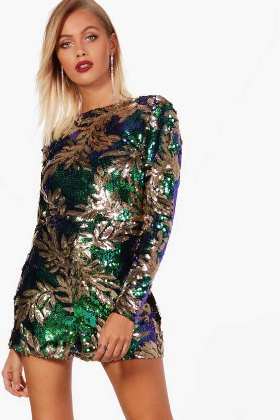 Leanne Sequin Long Sleeve Playsuit