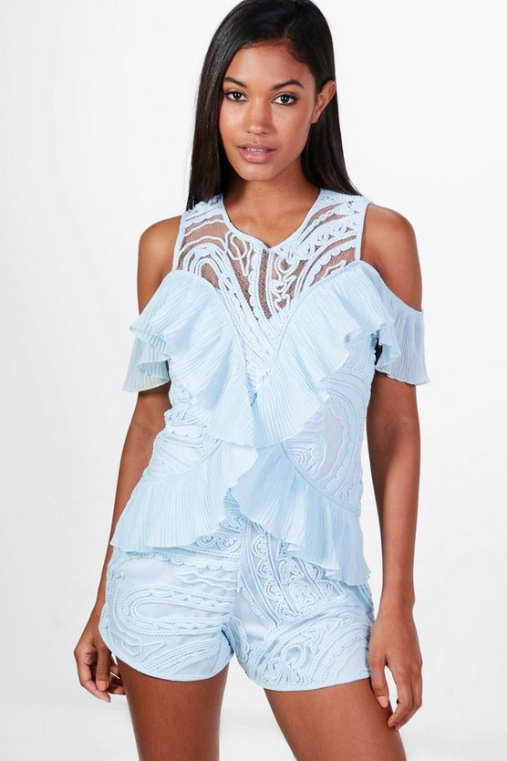 Boutique Molly Ruffle Embroidered Playsuit