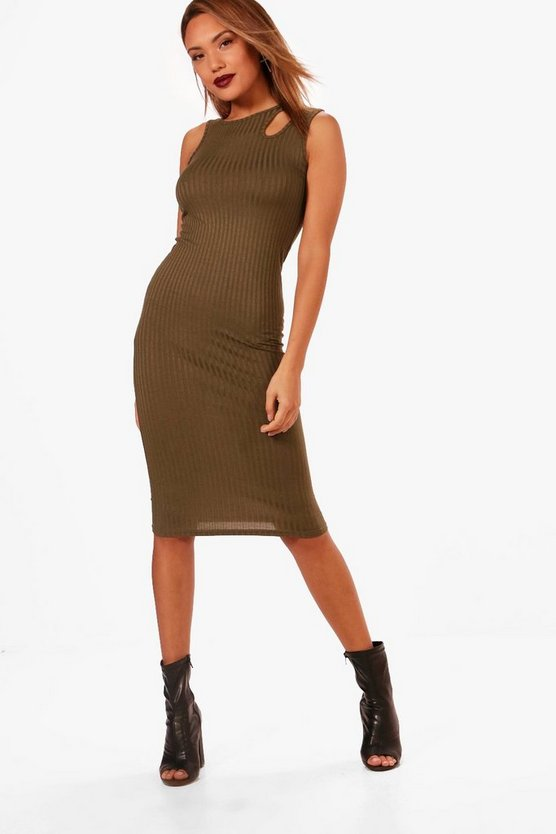 Bethany Ribbed Cut Out Detail Midi Dress