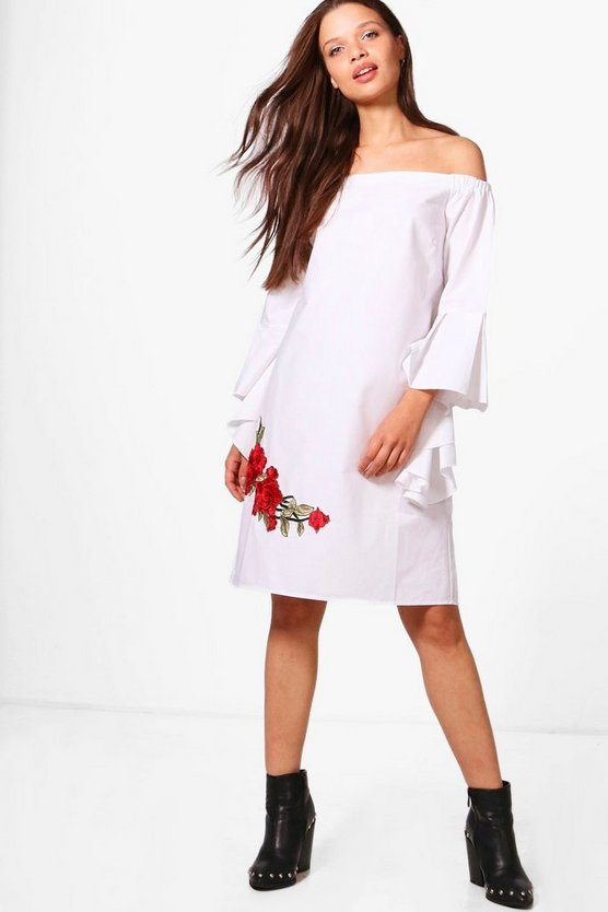 Izzy Floral Embroidered Waterfall  Dress