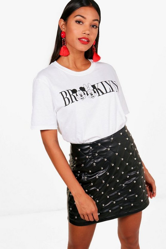 "Bethany T-Shirt mit Disneys Minnie und Micky und ""Brooklyn""-Motiv"