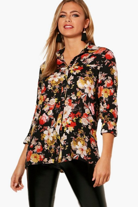 Felicity Printed Lace Back Shirt