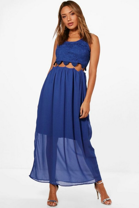 Rebecca Crochet Lace Cut Out Waist Maxi Dress