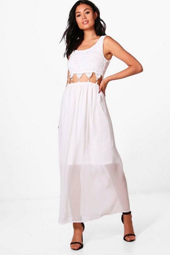 Crochet Lace Cut Out Waist Maxi Dress