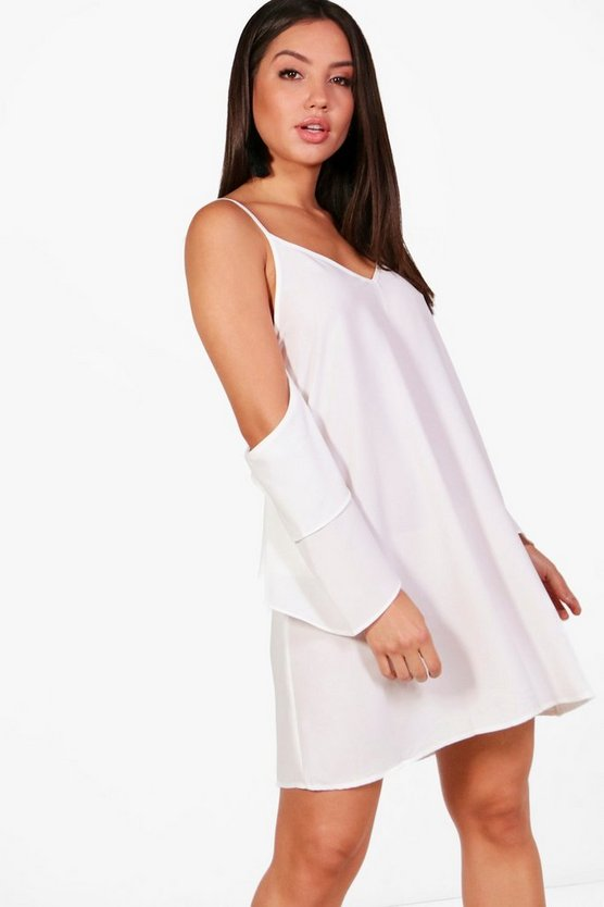 Cold Shoulder Ruffle Sleeve Shift Dress