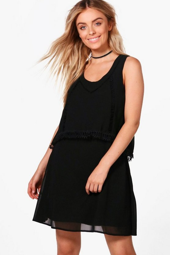 Double Layer Crochet Trim Skater Dress